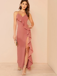 Front Slit Dress with Asymmetric Ruffle Trim MAUVE PINK