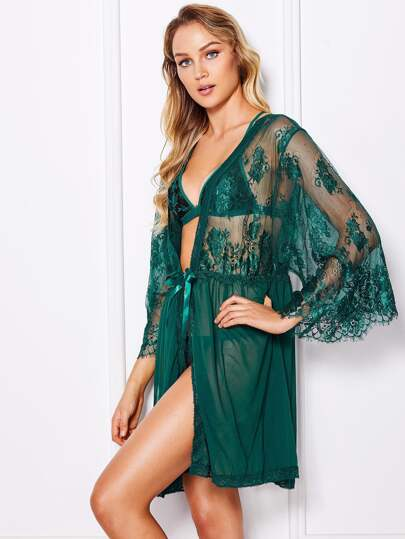 Self Tie Floral Lace Robe With Thong