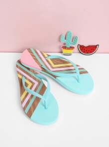 Toe Post Striped Flip Flops