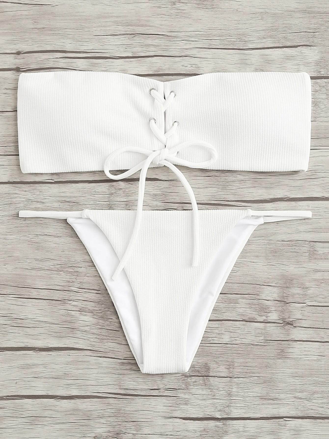 Lace Up Bandeau Bikini Set кабель schwaiger 23016 8