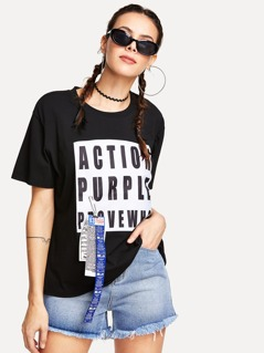 Letter Print Patch T-shirt