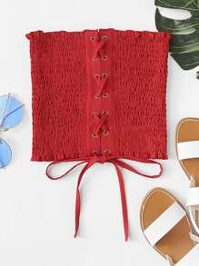 Frill Trim Pleated Lace Up Tube Top