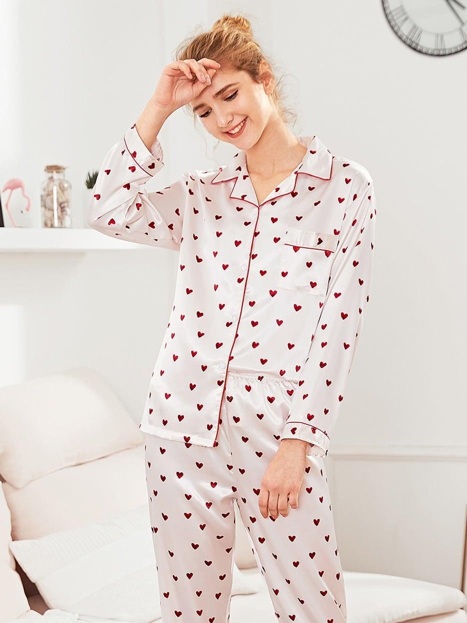 Contrast Binding Heart Print Pajama Set acts of mercy