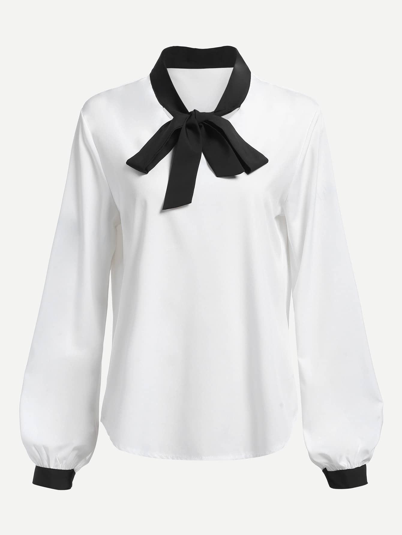 Купить Контраст Trim Tie Neck шифон блузка, null, SheIn