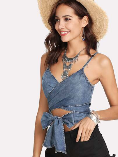 Tie Front Cross Wrap Cami Top