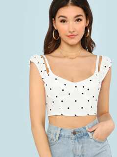 Cold Shoulder Polka Dot Crop Top WHITE BLACK