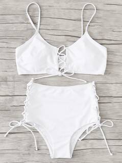 Lace Up Detail Bikini Set