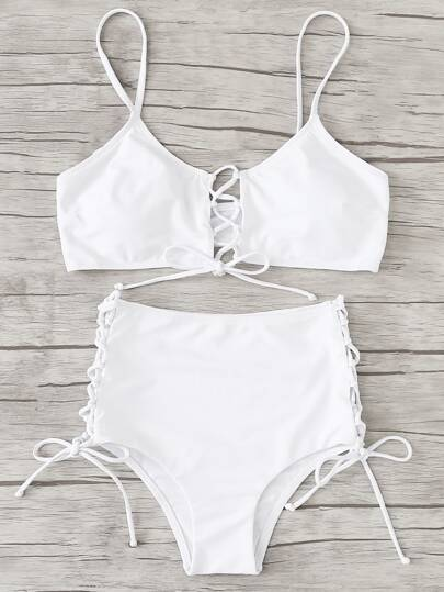 Lace Up Detail Bikini Set