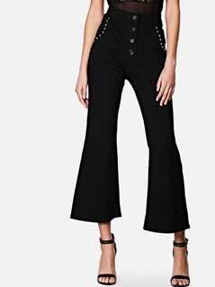 Button Fly Studded Flare Pants