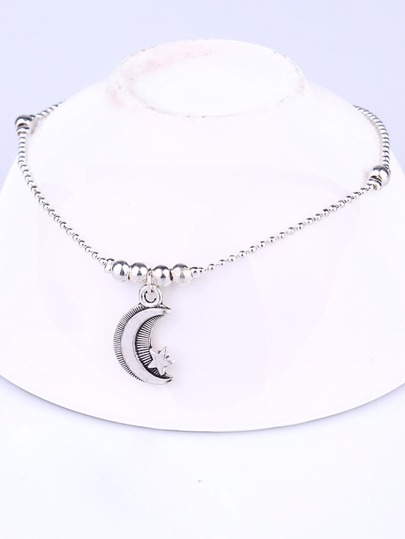 Moon Charm Detail Chain Anklet