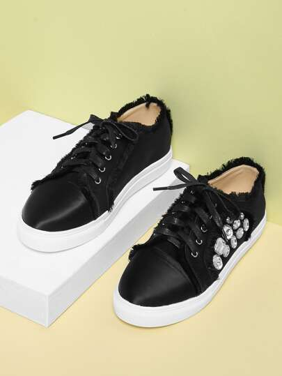 Raw Trim Lace Up Low Top Sneakers