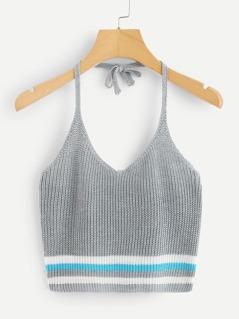Striped Hem Halter Knit Cami Top