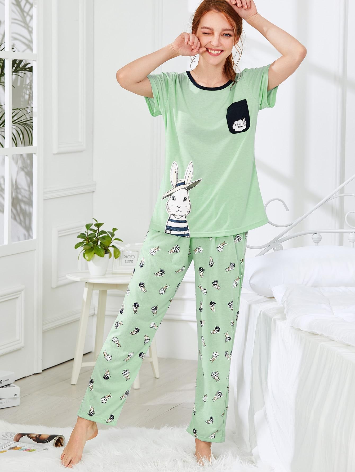 Rabbit Print Tee & Pants PJ Set exmork 100 вт 12 в poly si