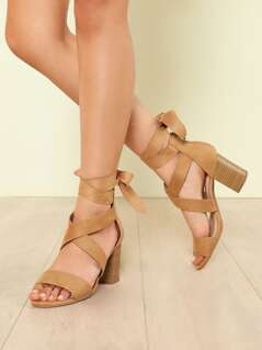 Faux Suede Ankle Wrap Strappy Chunky Heel CAMEL