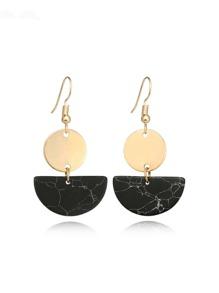 Two Tone Geometric Drop Earrings