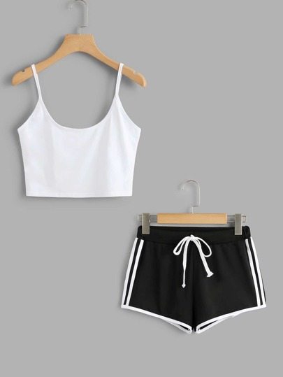 Cami Top With Striped Side Shorts