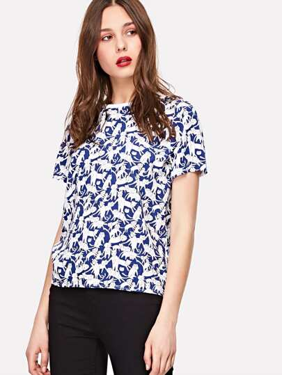 Allover Cat Print Tee