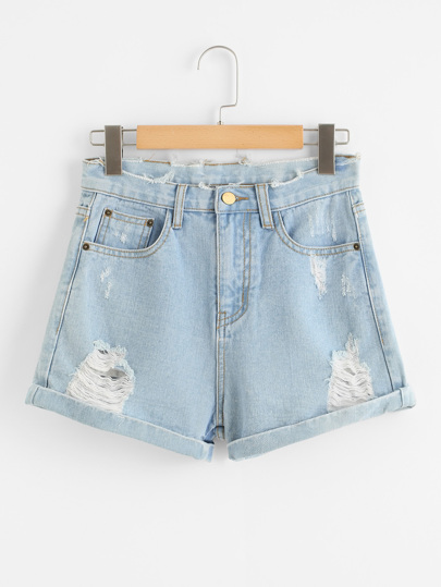 Shorts in denim con orlo grezzo