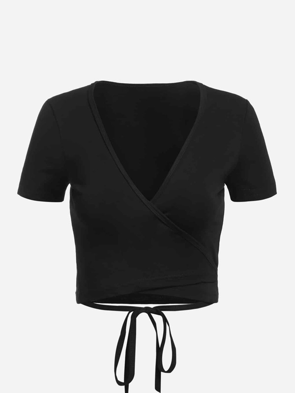 Tie Detail Wrap Crop T Shirt by Sheinside