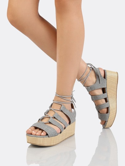 Lace Up Strappy Wedge Sandal GREY