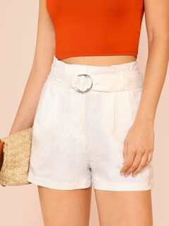 Frill Waist Shorts with O-Ring Belt OFF WHITE