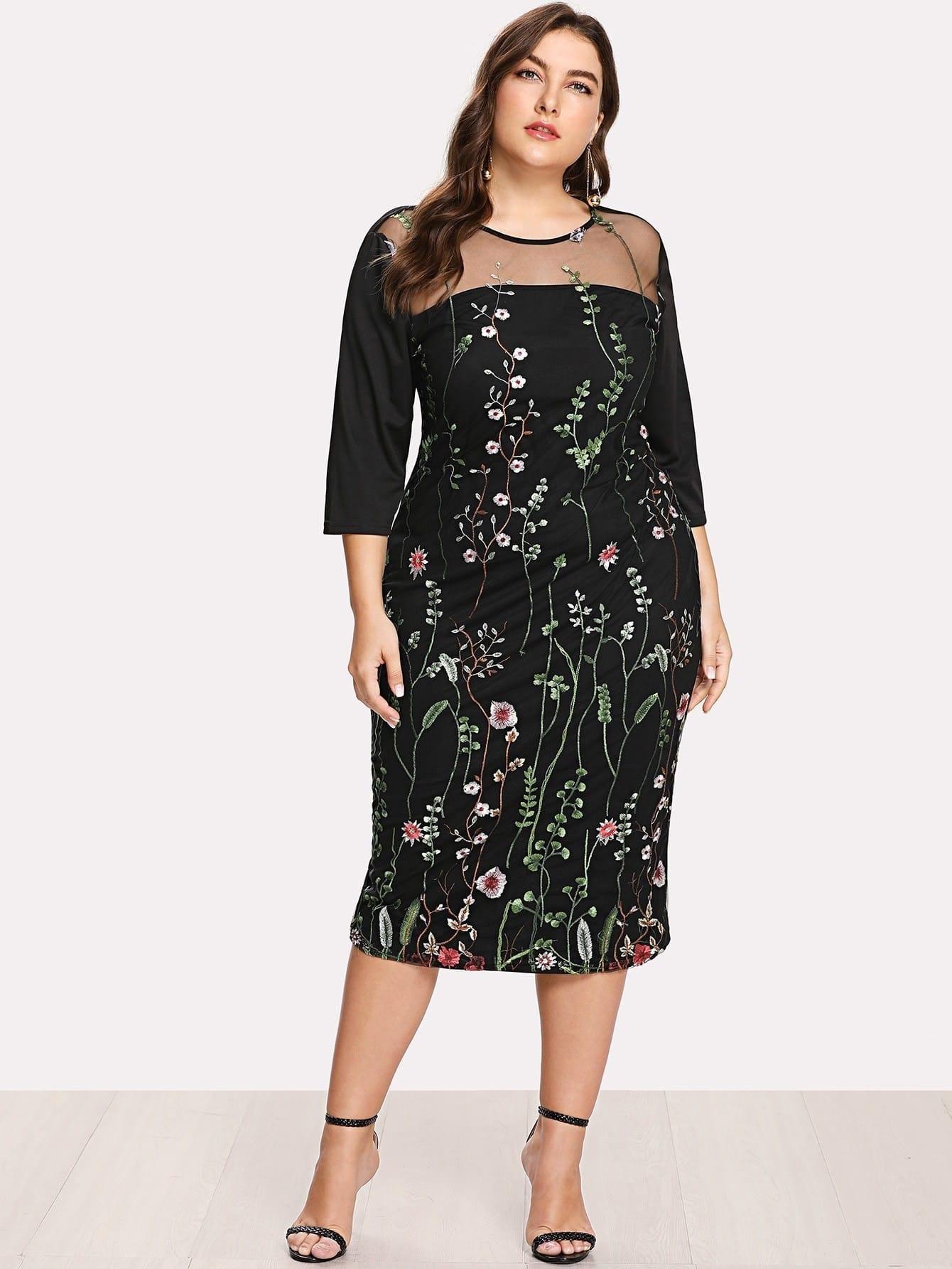 Купить Модное платье с вышивкой и сетчатой вставкой, Franziska, SheIn