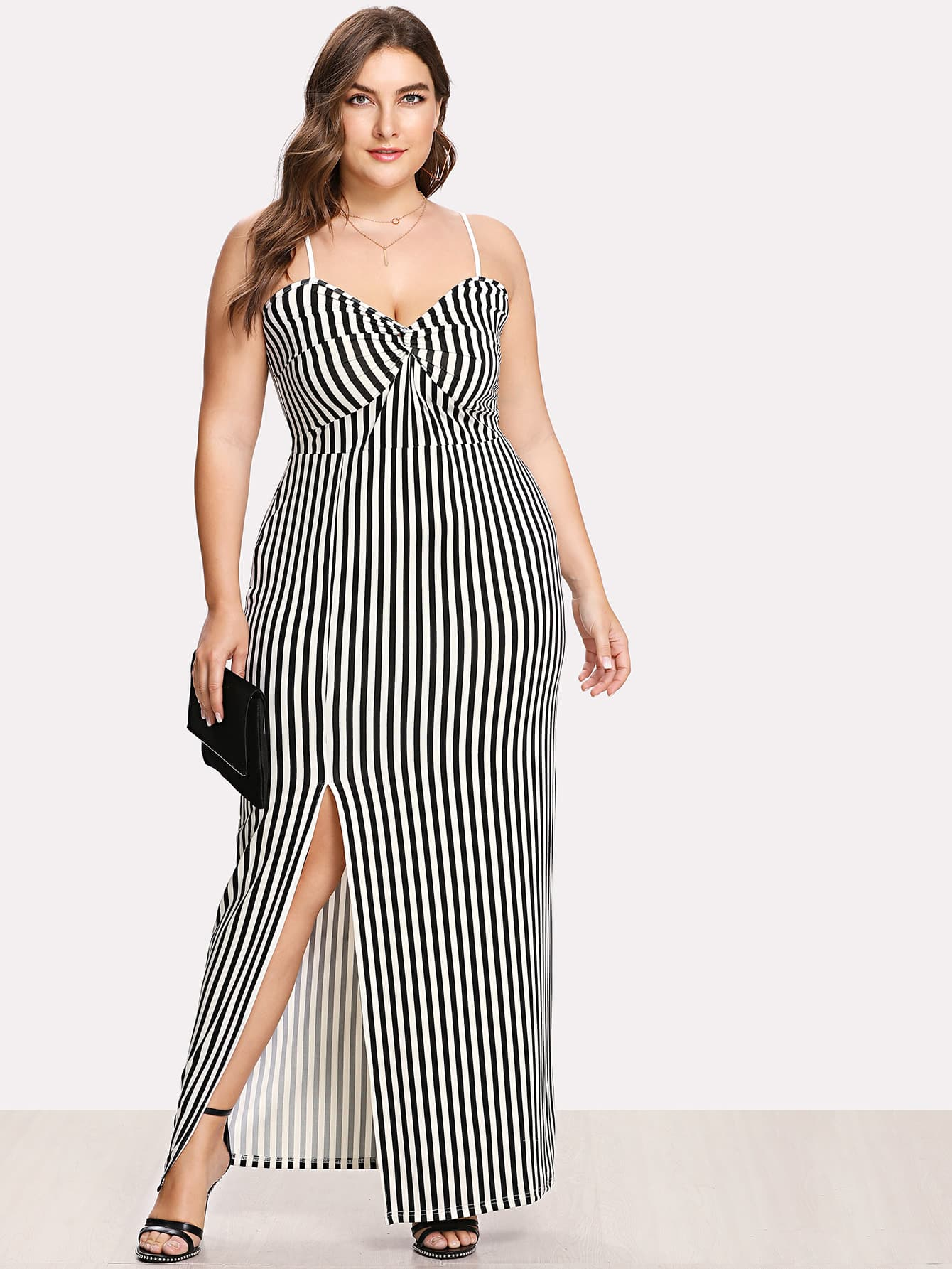 Twist Front Slit Hem Striped Cami Maxi Dress fold over button front slit hem strap dress