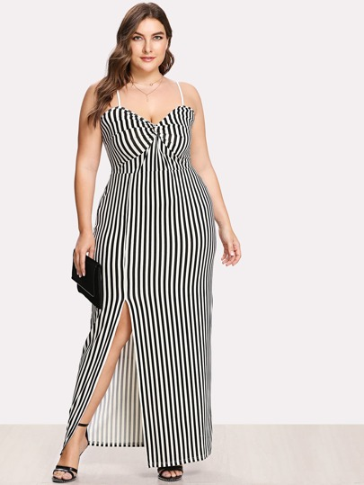 Twist Front Slit Hem Striped Cami Maxi Dress
