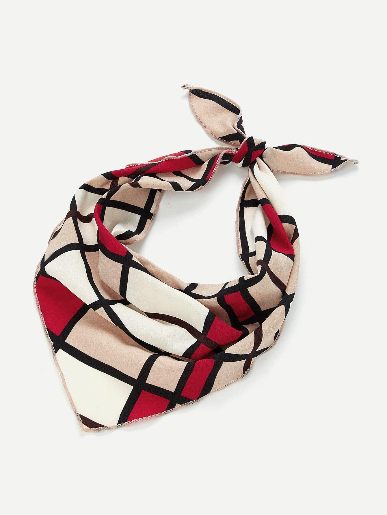 Color Block Twilly Scarf color block geometric bandana scarf