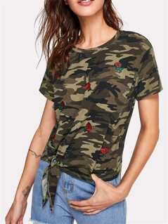 Flower Applique Knot Front Camo Print Tee