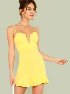 Plunging Neck Ruffle Hem Cami Dress