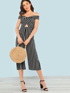 Striped Off Shoulder Wide Leg Jumpsuit with Cut Out Front Detail BLACK