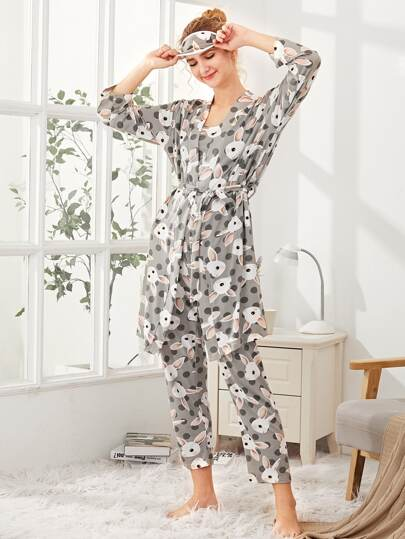 Rabbit Print PJ Set With Robe And Eye Mask
