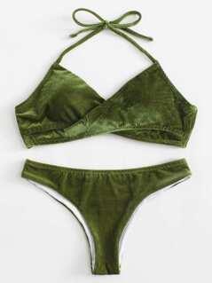 Solid Corduroy Wrap Bikini Set