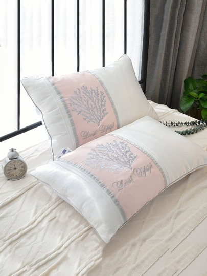 Piping Trim Embroidered Pillow 1pc