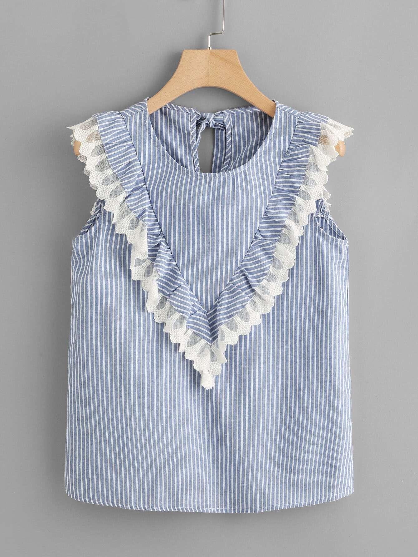 Tie Back Ruffle Trim Pinstripe Top lantern sleeve ruffle trim pinstripe dress