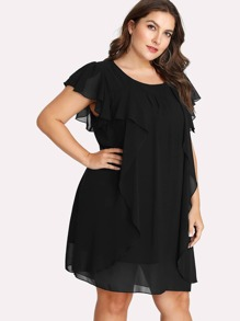 Flutter Sleeve Ruffle Dress