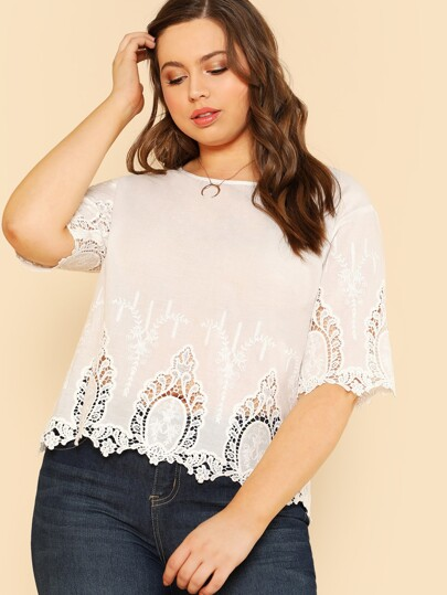 Lace Insert Embroidered Top