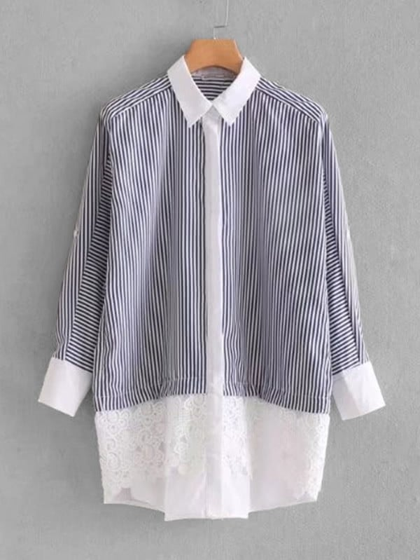 все цены на Contrast Guipure Lace Striped Shirt