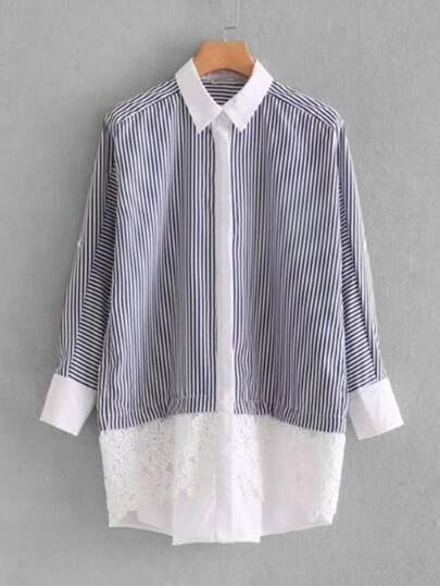 Contrast Guipure Lace Striped Shirt