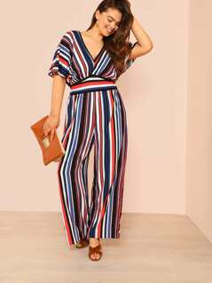 Plus High Waist Striped Jumpsuit with Keyhole Back RED BLUE MULTI