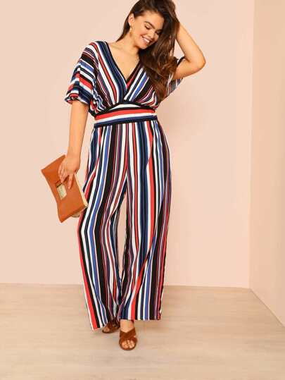 High Waist Striped Jumpsuit with Keyhole Back RED BLUE MULTI