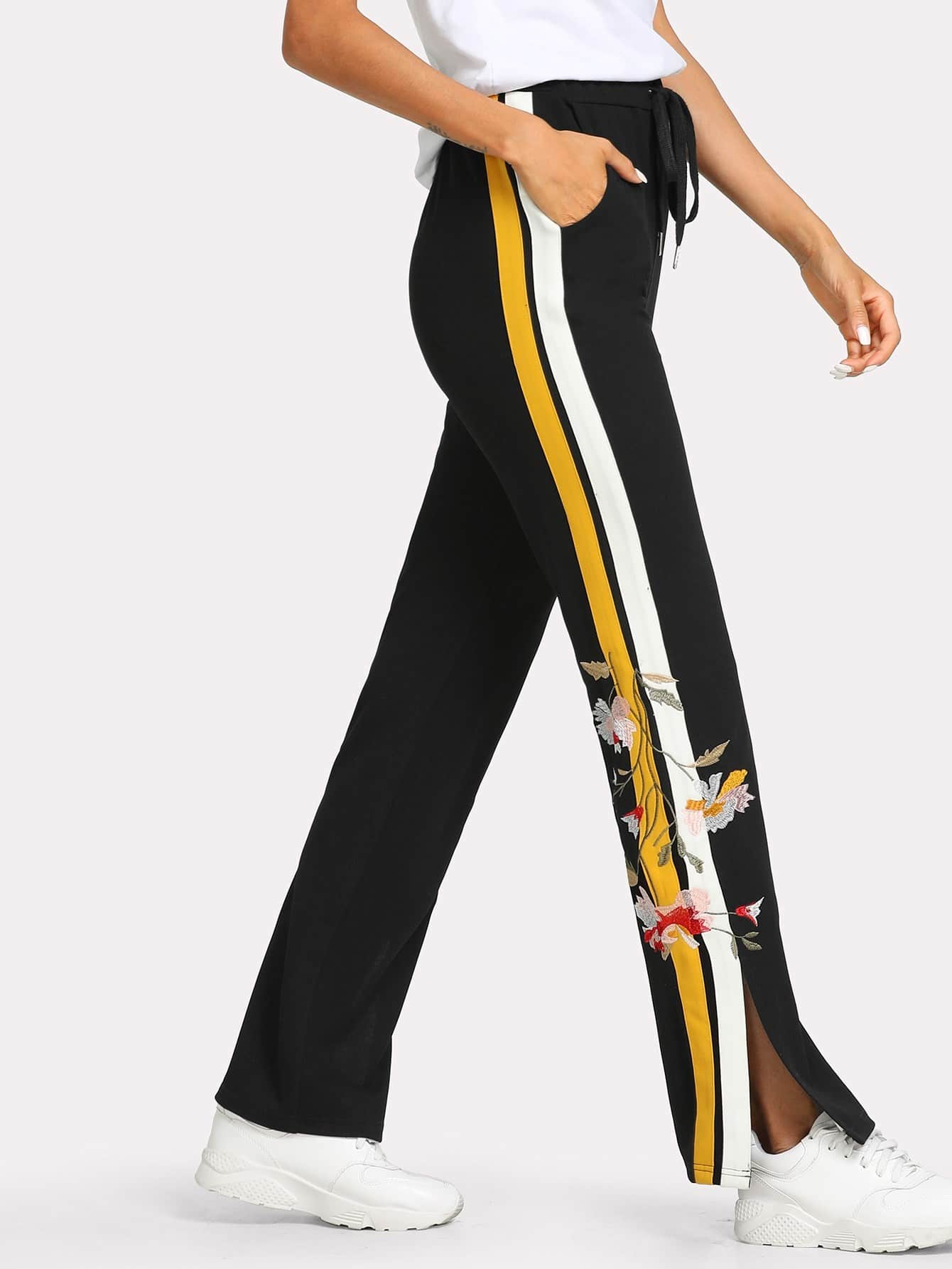 Flower Embroidered Contrast Panel Side Sweatpants contrast striped side sweatpants