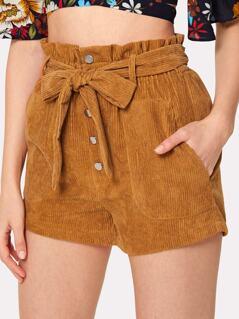 Tie Waist Button Up Corduroy Shorts