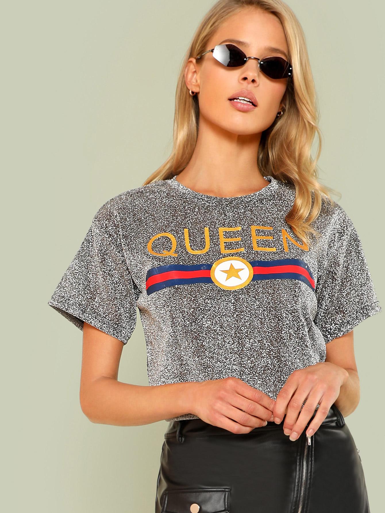 Купить Модная футболка с принтом, Allie Leggett, SheIn