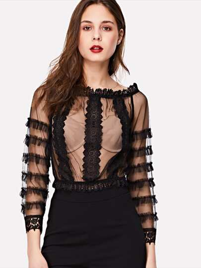 Lace Applique Frilled Sleeve Mesh Top