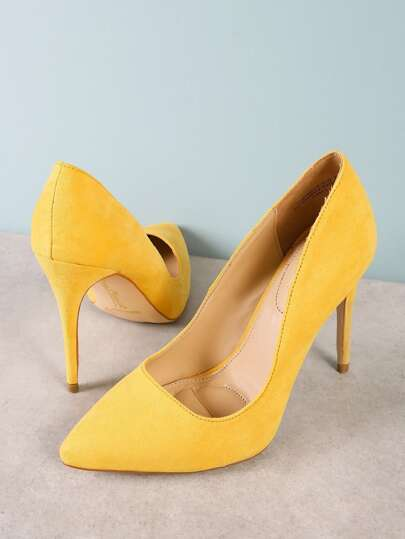 Faux Suede Pointy Toe Stiletto Heel YELLOW