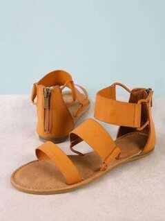 Three Wide Strap Zip Back Flat Sandal TAN