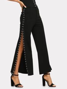 Hook Side Split Wide Leg Pants