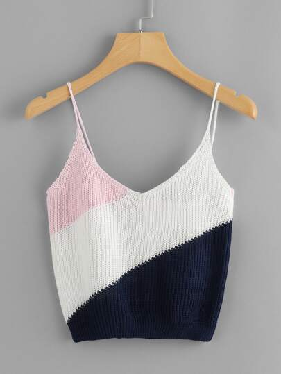 Color Block Knit Cami Top